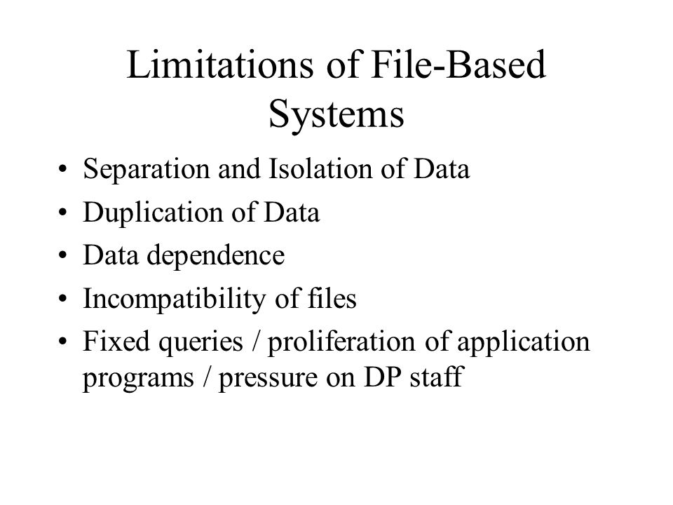 Limitations of File-Based Systems