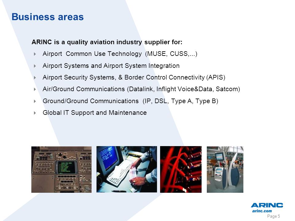 Business areas ARINC is a quality aviation industry supplier for: