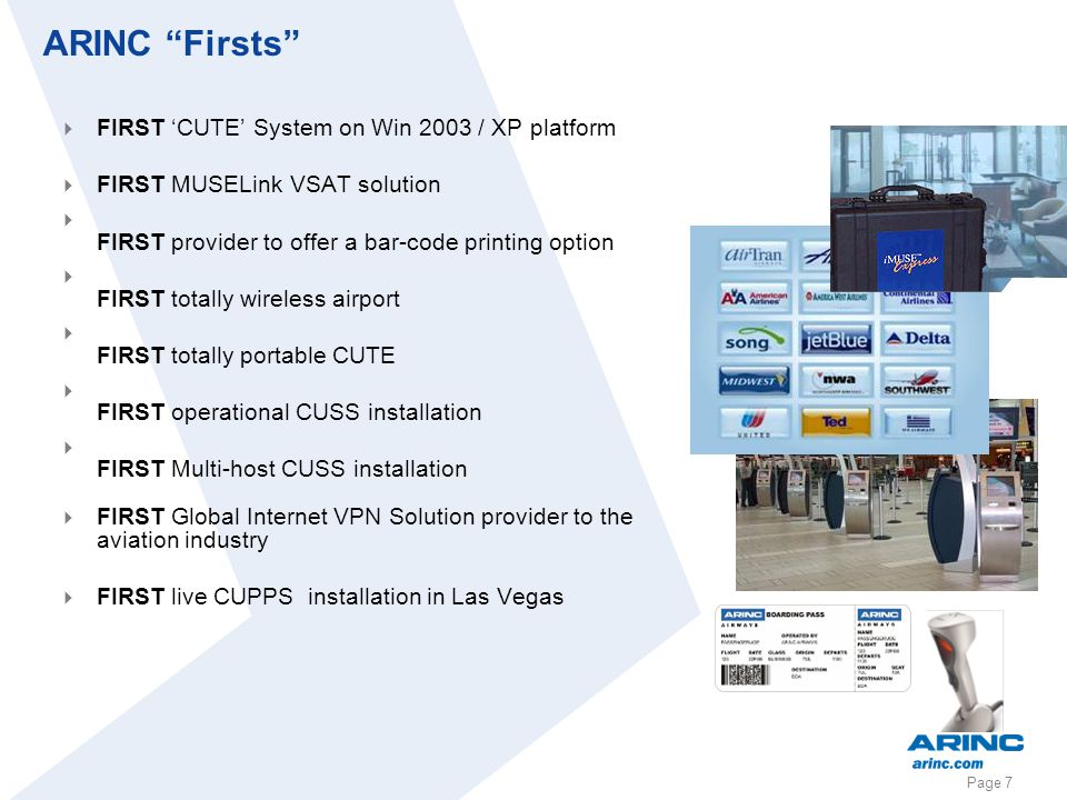 ARINC Firsts FIRST 'CUTE' System on Win 2003 / XP platform