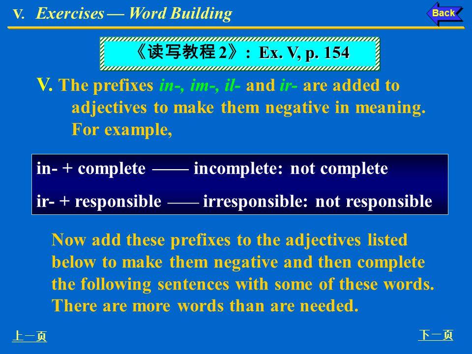 V. Exercises — Word Building