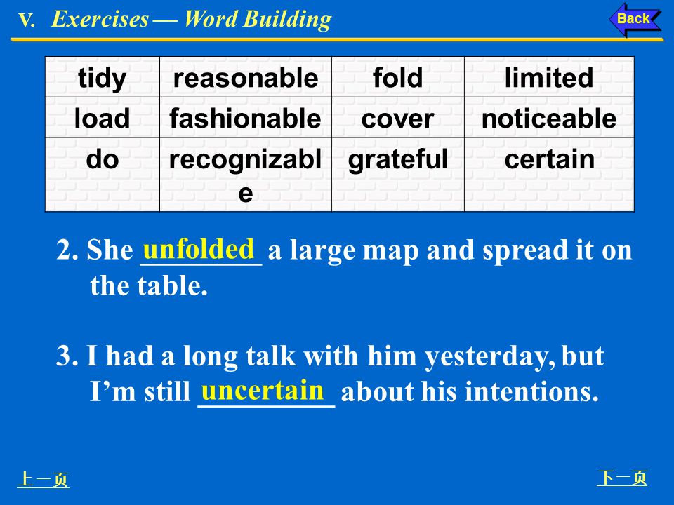 2. She ________ a large map and spread it on the table. unfolded