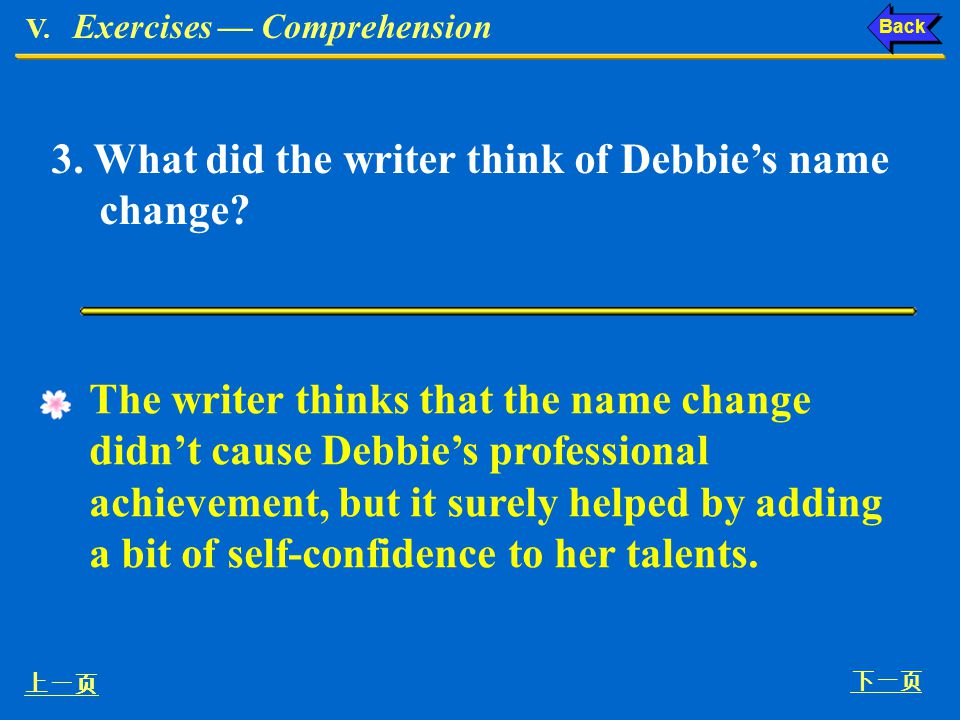 3. What did the writer think of Debbie's name change