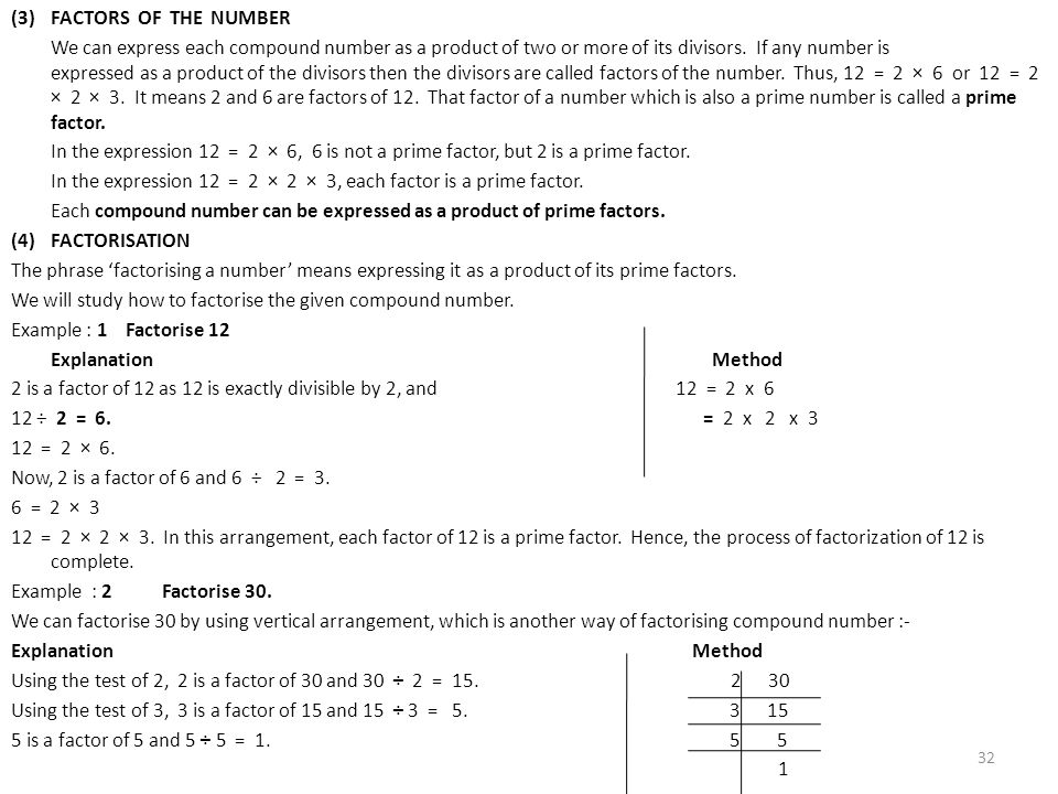 (3) FACTORS OF THE NUMBER We can express each compound number as a product of two or more of its divisors.