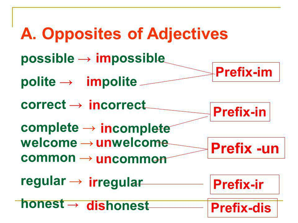 A. Opposites of Adjectives