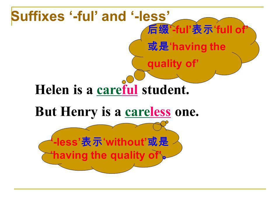 Suffixes '-ful' and '-less'
