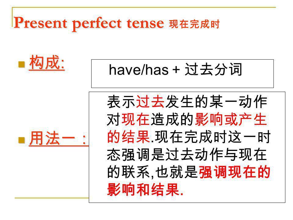 Present perfect tense 现在完成时