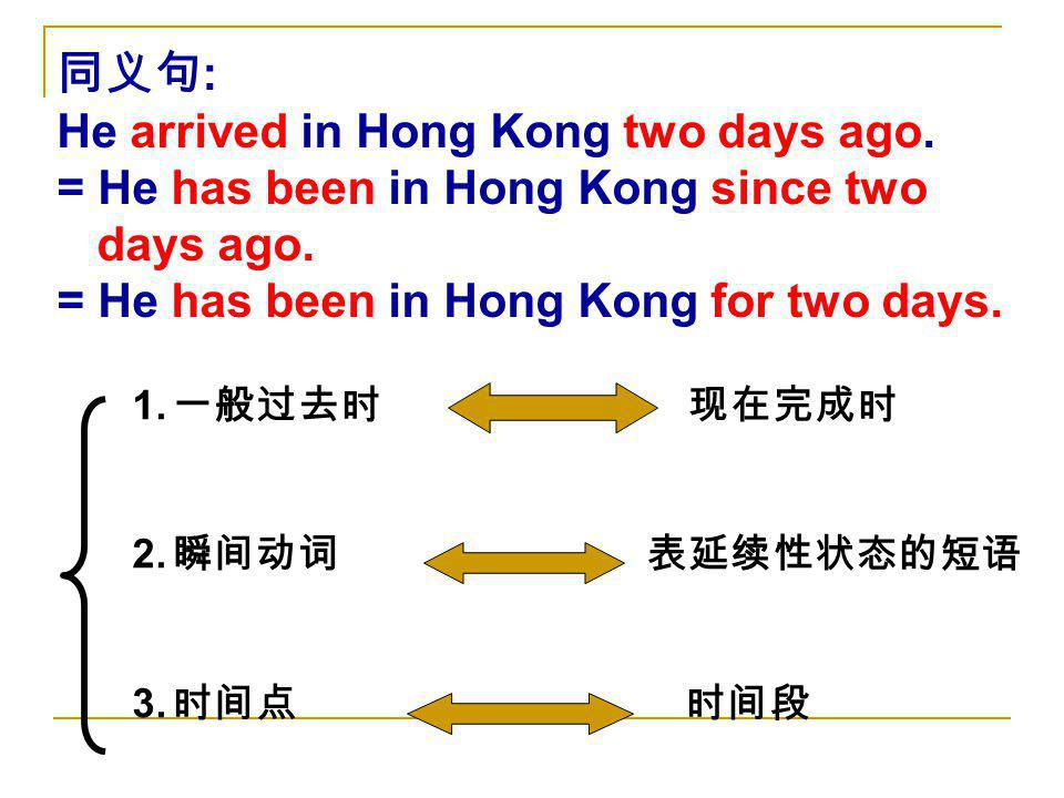 He arrived in Hong Kong two days ago.