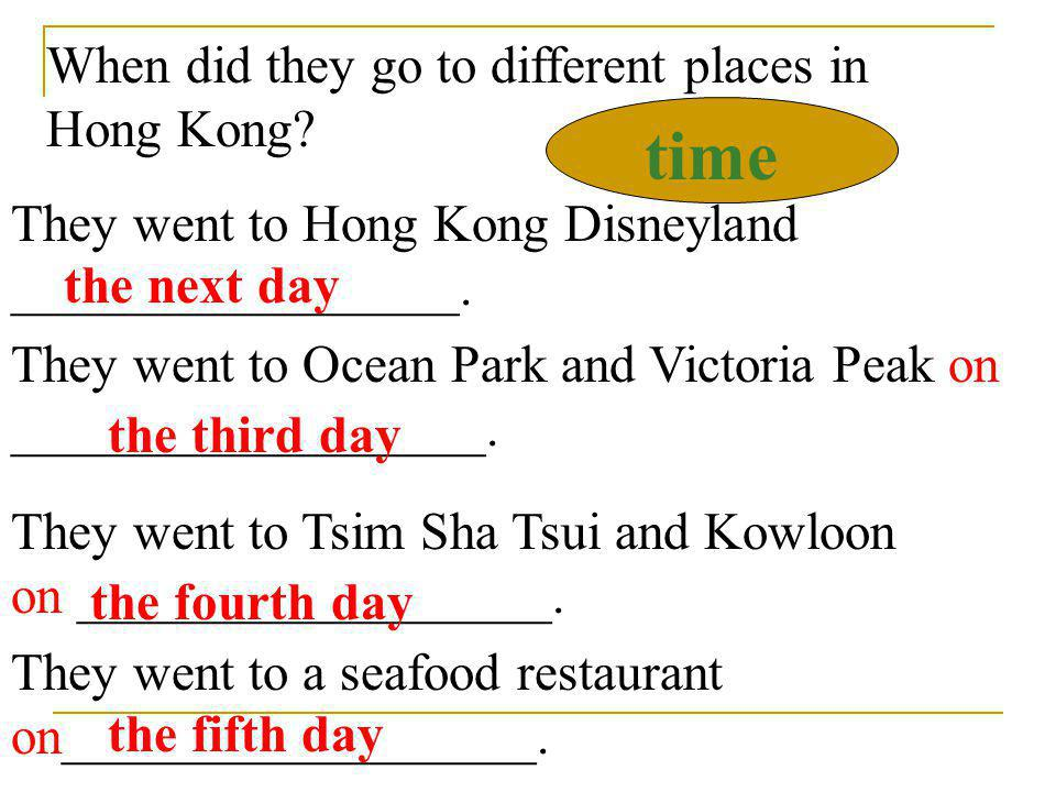 time When did they go to different places in Hong Kong