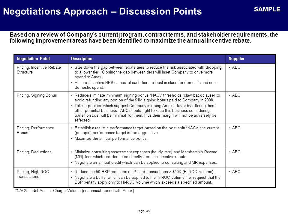 Negotiations Approach – Projected Targets