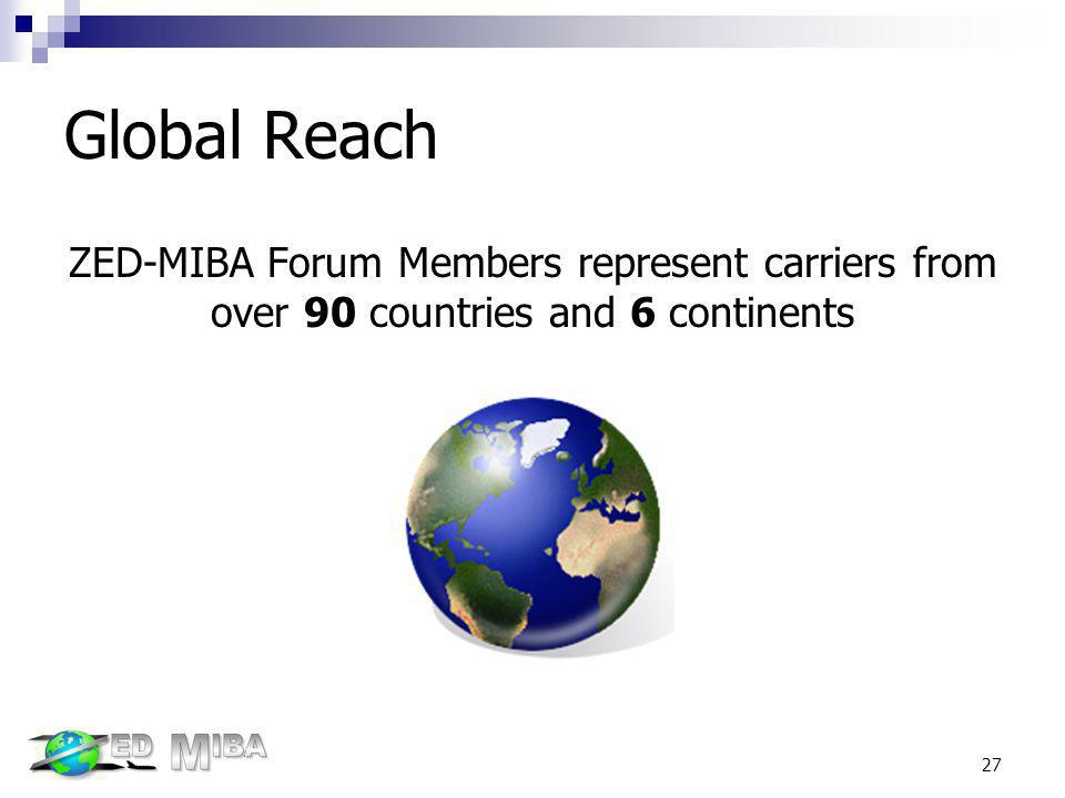 Global Reach ZED-MIBA Forum Members represent carriers from over 90 countries and 6 continents