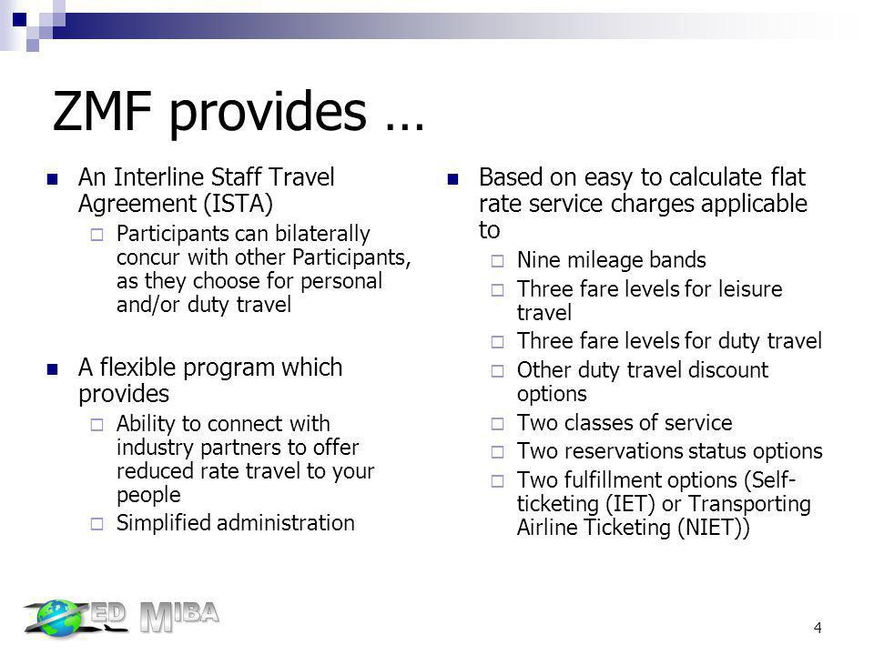 ZMF provides … An Interline Staff Travel Agreement (ISTA)
