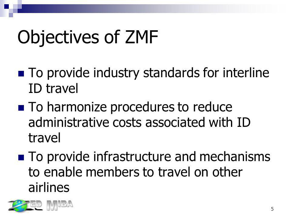 Objectives of ZMF To provide industry standards for interline ID travel.
