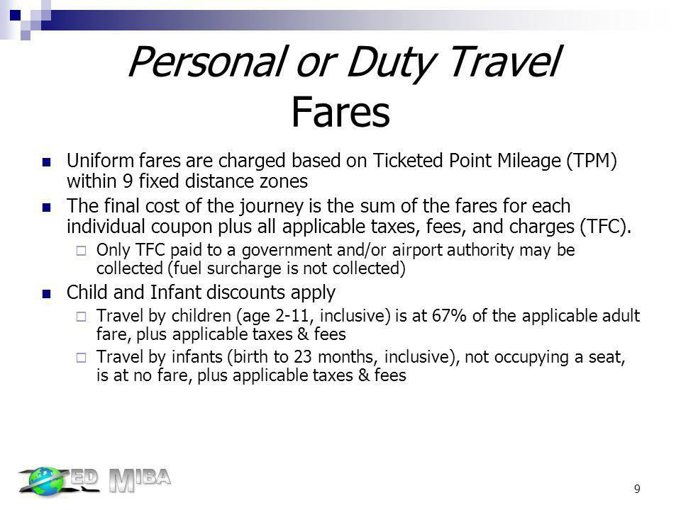 Personal or Duty Travel Fares