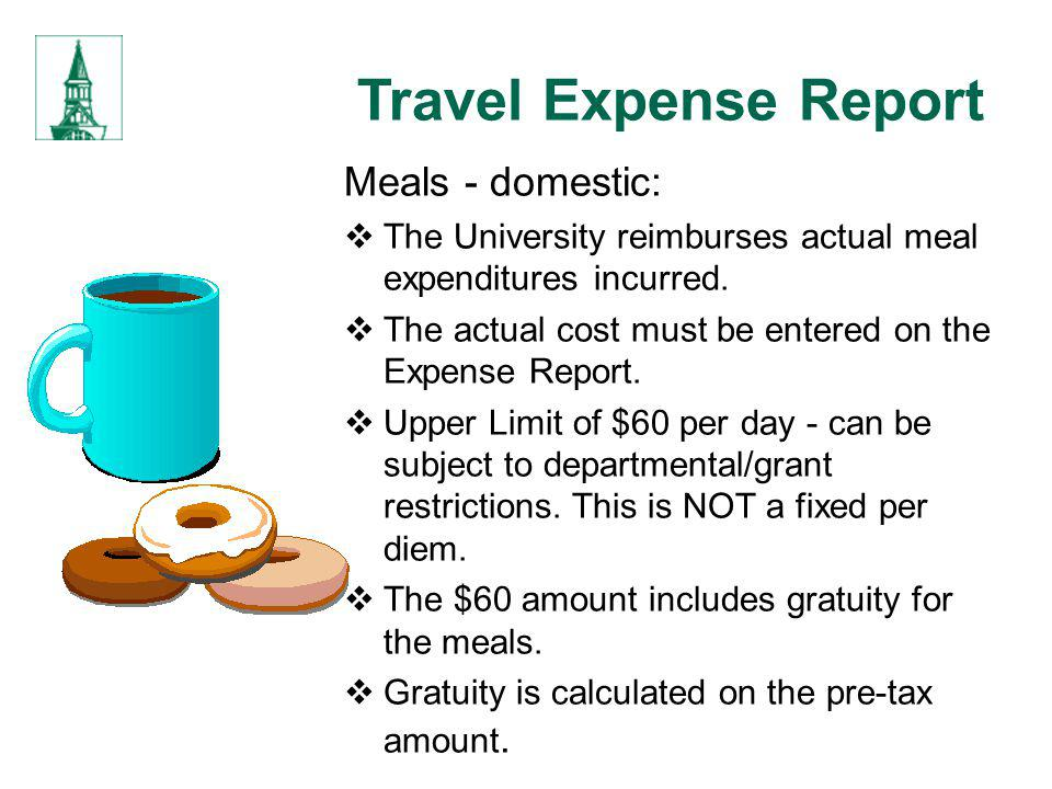 Travel Expense Report Meals - domestic: