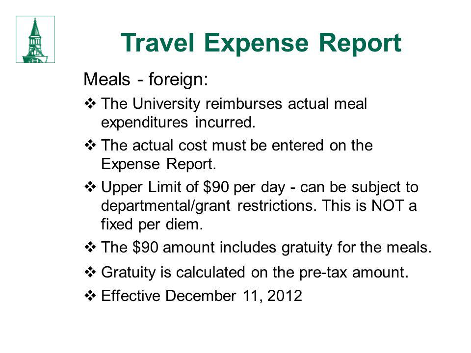 Travel Expense Report Meals - foreign: