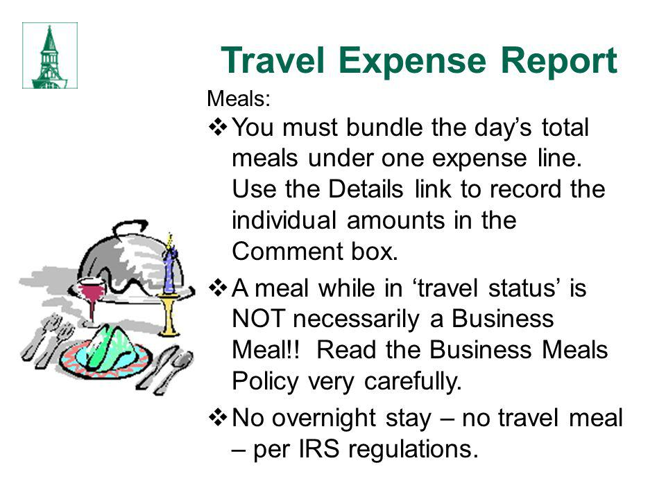 Travel Expense Report Meals: