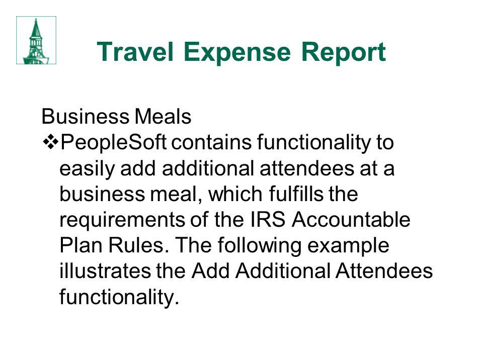 Travel Expense Report Business Meals