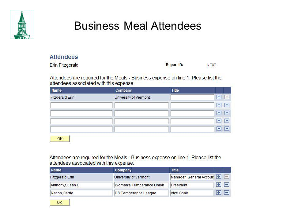 Business Meal Attendees