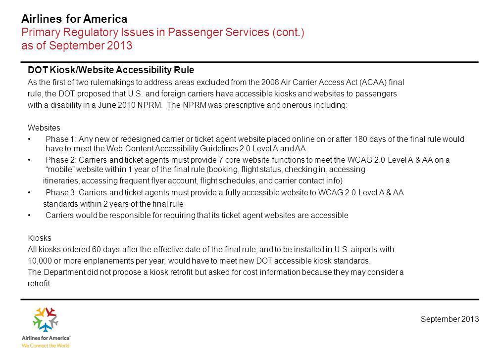 Primary Regulatory Issues in Passenger Services (cont.)