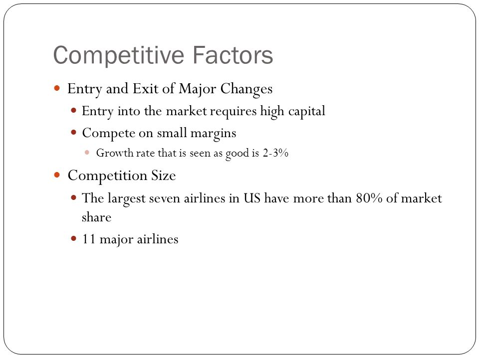 Competitive Factors Entry and Exit of Major Changes Competition Size