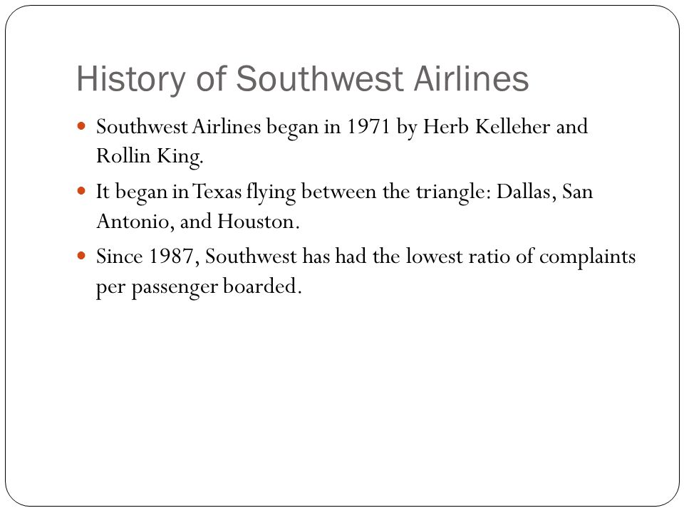 History of Southwest Airlines