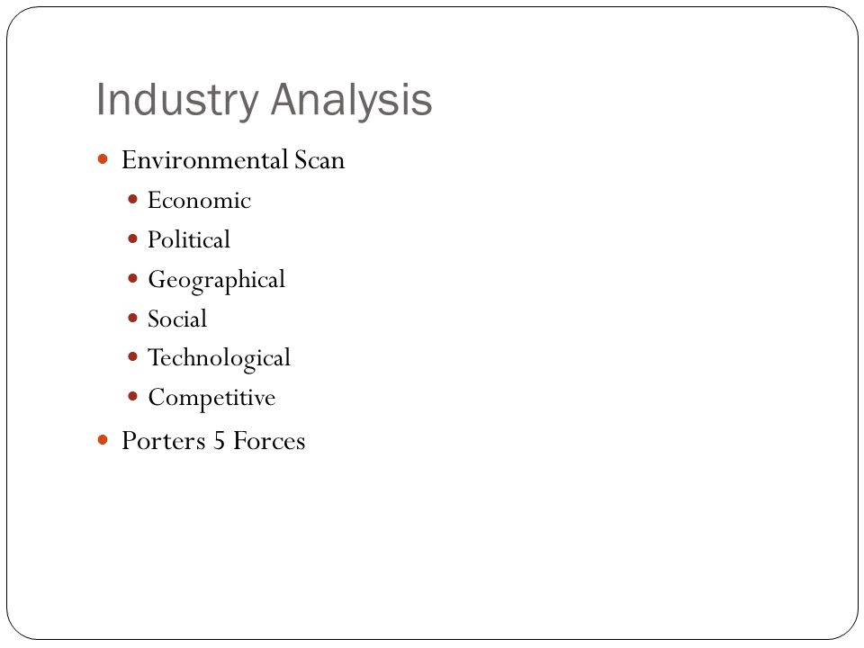 Industry Analysis Environmental Scan Porters 5 Forces Economic
