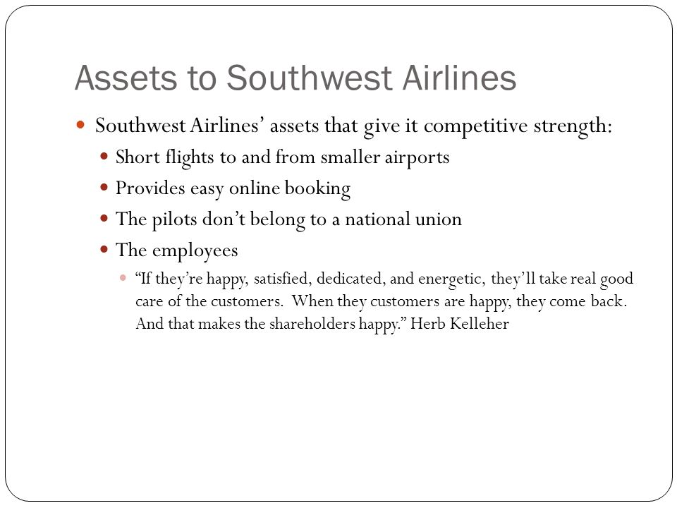 Assets to Southwest Airlines