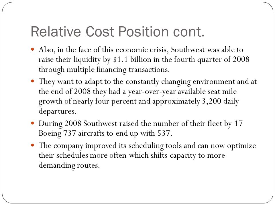 Relative Cost Position cont.
