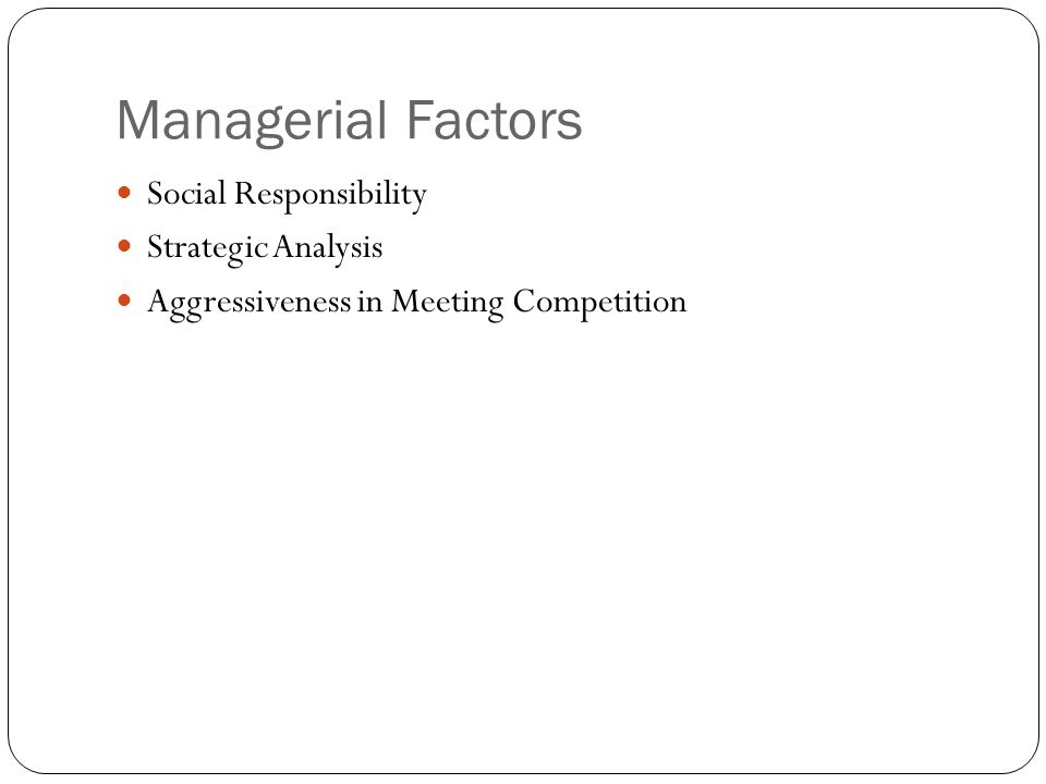 Managerial Factors Social Responsibility Strategic Analysis
