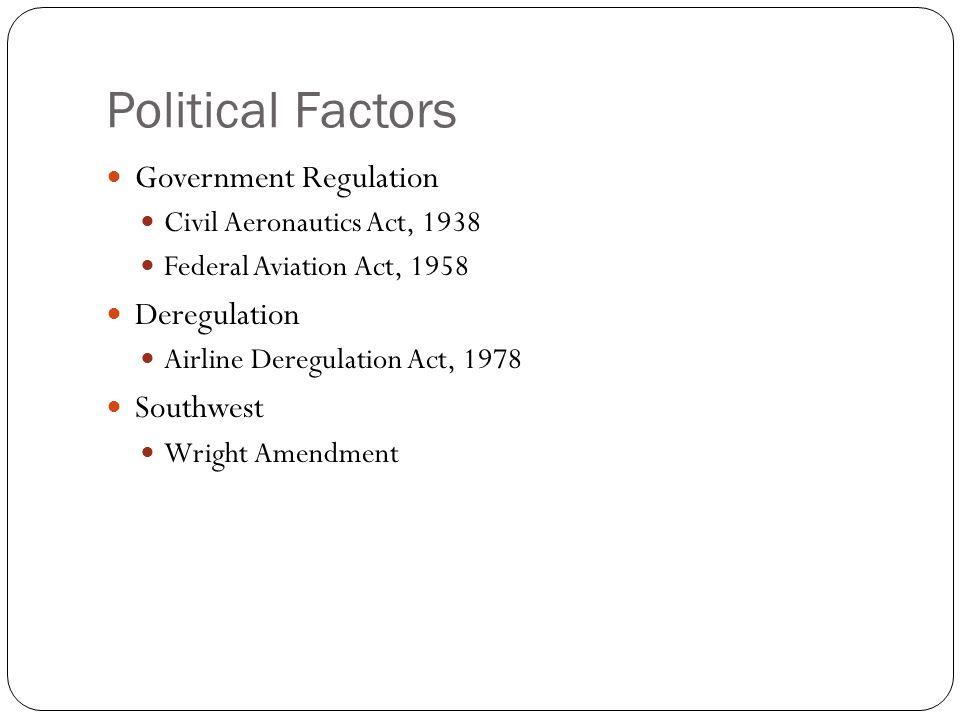 Political Factors Government Regulation Deregulation Southwest