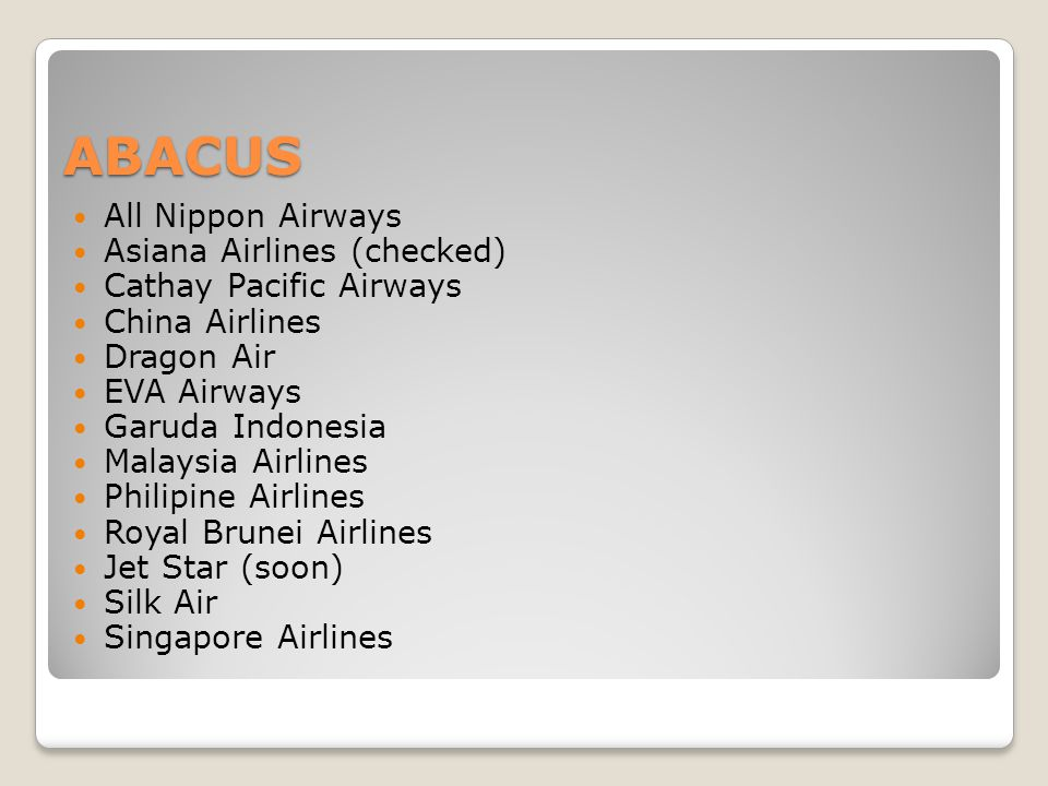 ABACUS All Nippon Airways Asiana Airlines (checked)