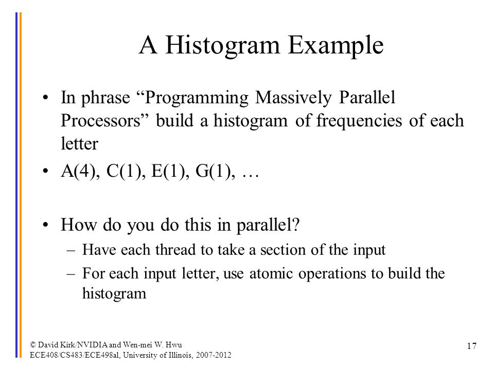A Histogram Example In phrase Programming Massively Parallel Processors build a histogram of frequencies of each letter.