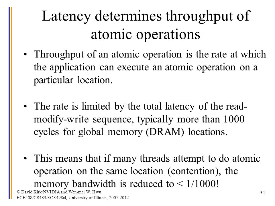 Latency determines throughput of atomic operations