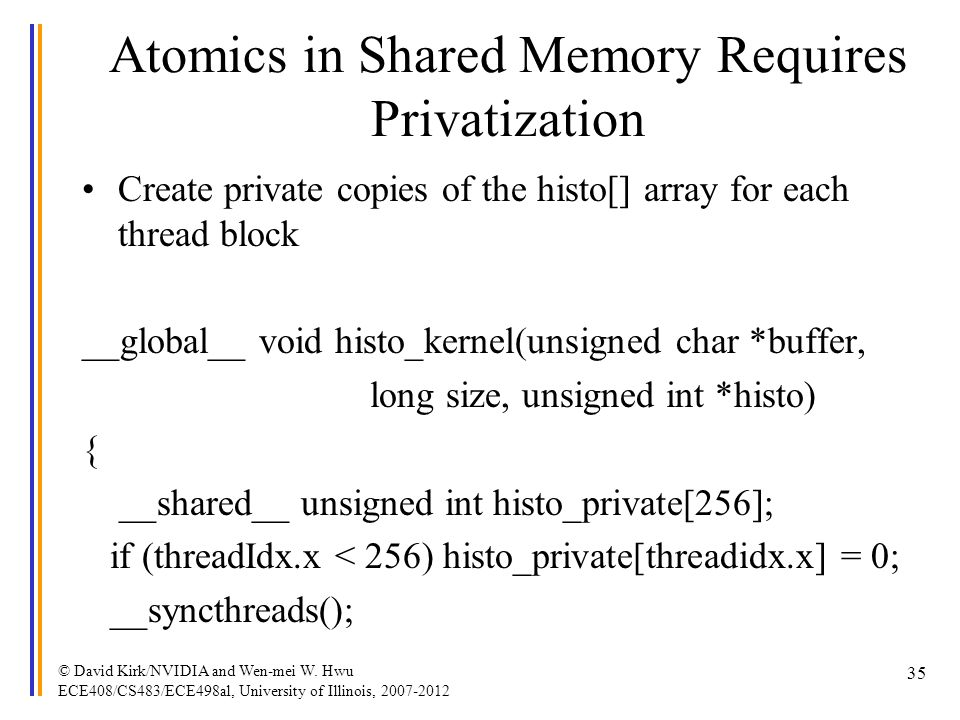 Atomics in Shared Memory Requires Privatization