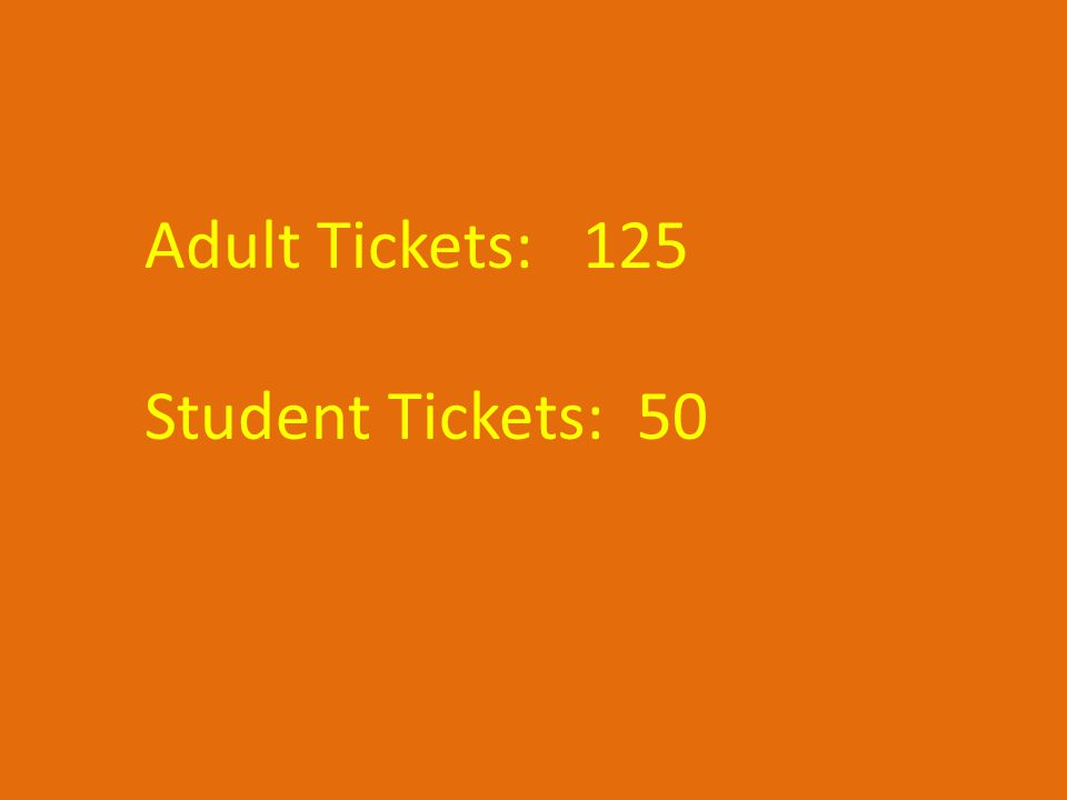 Adult Tickets: 125 Student Tickets: 50