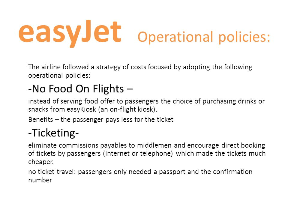 easyJet Operational policies: