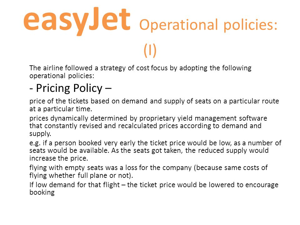 easyJet Operational policies: (I)