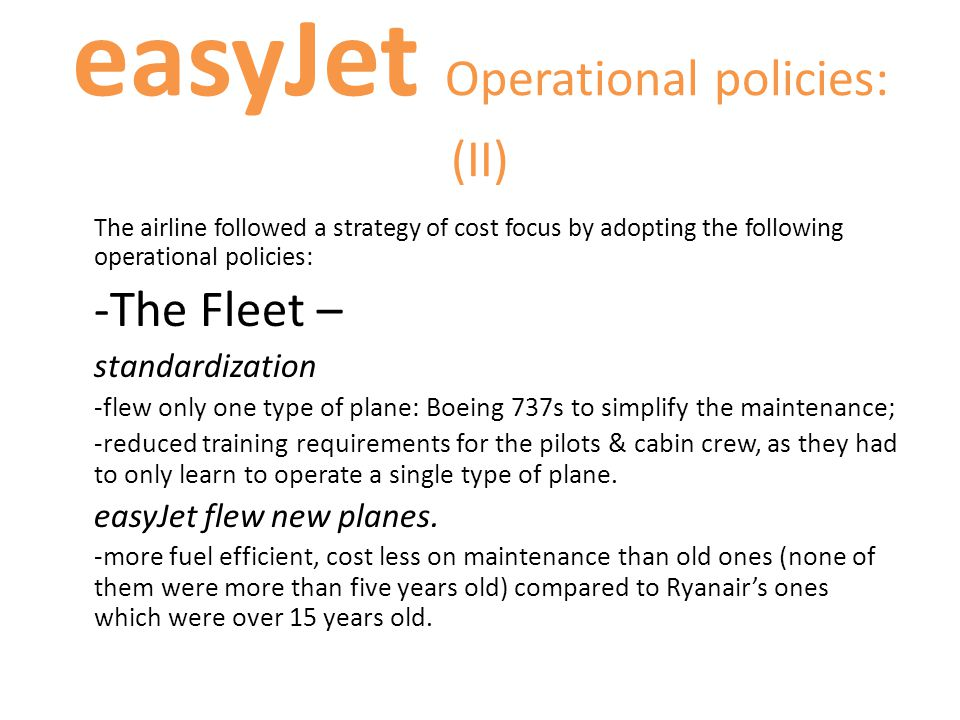 easyJet Operational policies: (II)