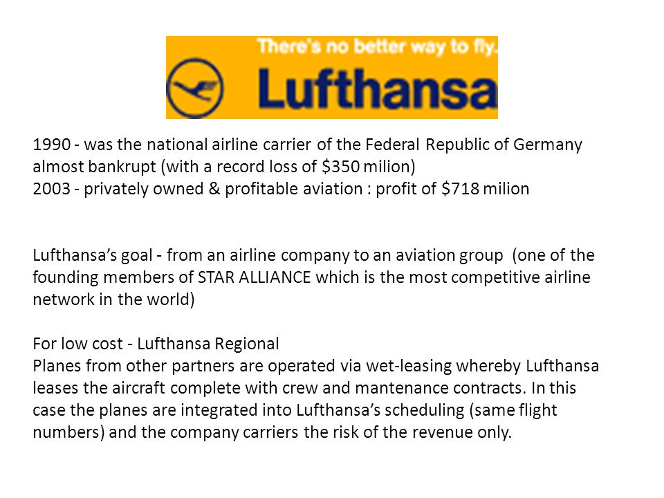 was the national airline carrier of the Federal Republic of Germany almost bankrupt (with a record loss of $350 milion)