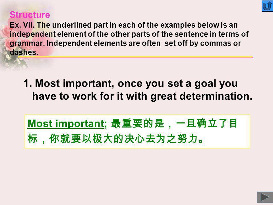 Most important; 最重要的是,一旦确立了目标,你就要以极大的决心去为之努力。