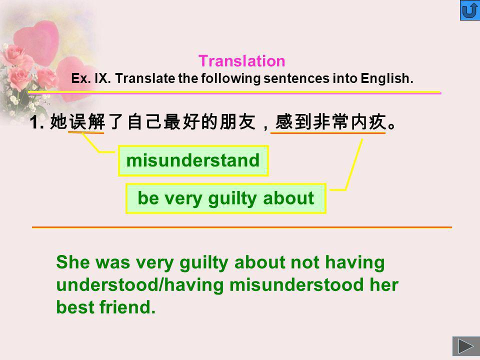 Translation Ex. IX. Translate the following sentences into English.
