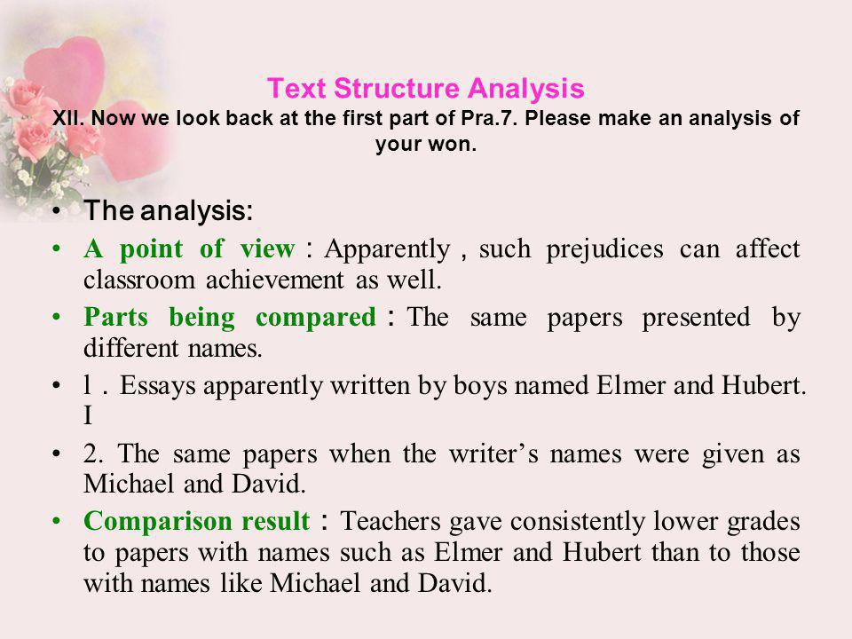 Text Structure Analysis XII. Now we look back at the first part of Pra