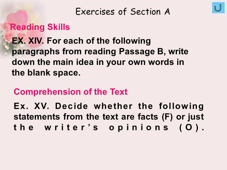 Exercises of Section A Reading Skills.