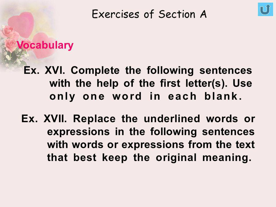 Exercises of Section A Vocabulary.