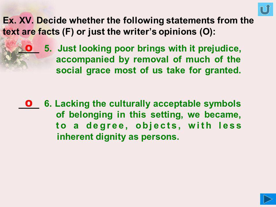 Ex. XV. Decide whether the following statements from the text are facts (F) or just the writer's opinions (O):