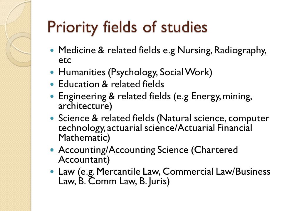 Priority fields of studies