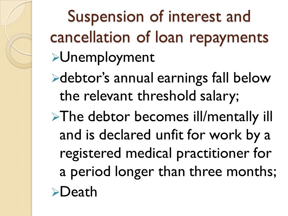 Suspension of interest and cancellation of loan repayments