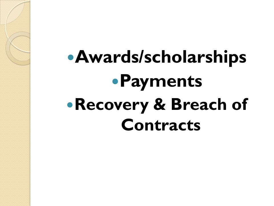 Recovery & Breach of Contracts