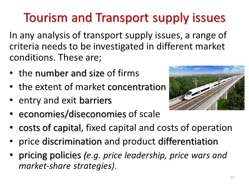 Tourism and Transport supply issues