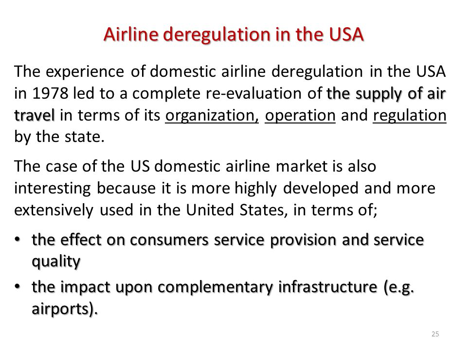 Airline deregulation in the USA
